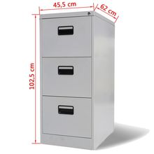 Filing Cabinet Office-Furniture Drawer Metal 3 with Grey Bedroom Living-Room