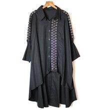 Модная новинка, женская летняя Свободная рубашка в стиле панк с отложным воротником и длинным рукавом, Женская однотонная блуза с блестками
