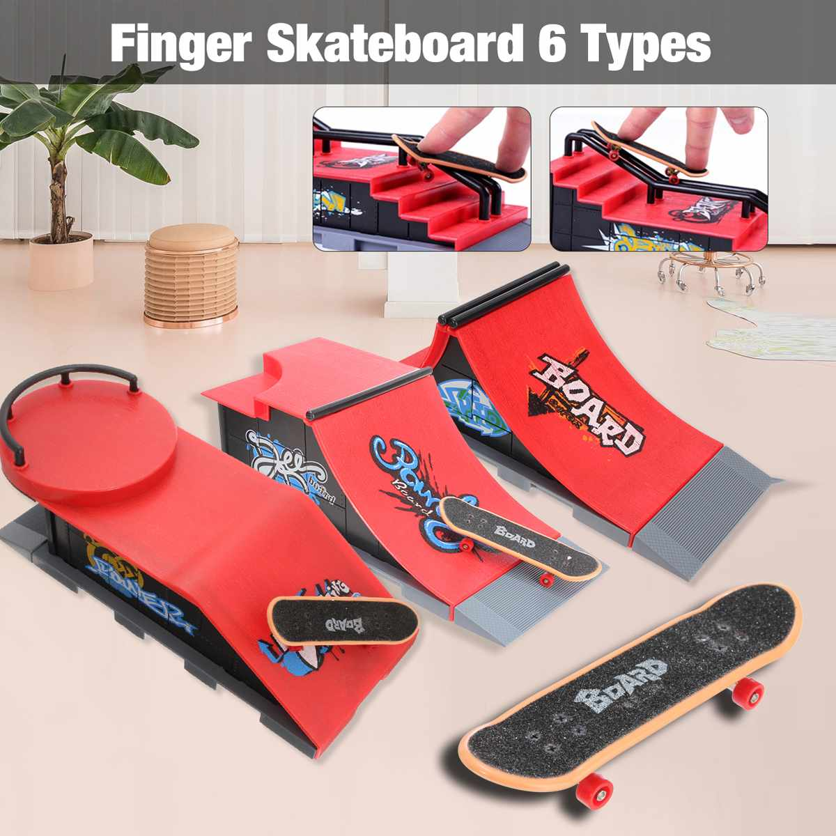 Skate Park Ramp Parts For Tech Deck Fingerboard Finger Board Mini Skate Board Ultimate Parks 6 Types Optional