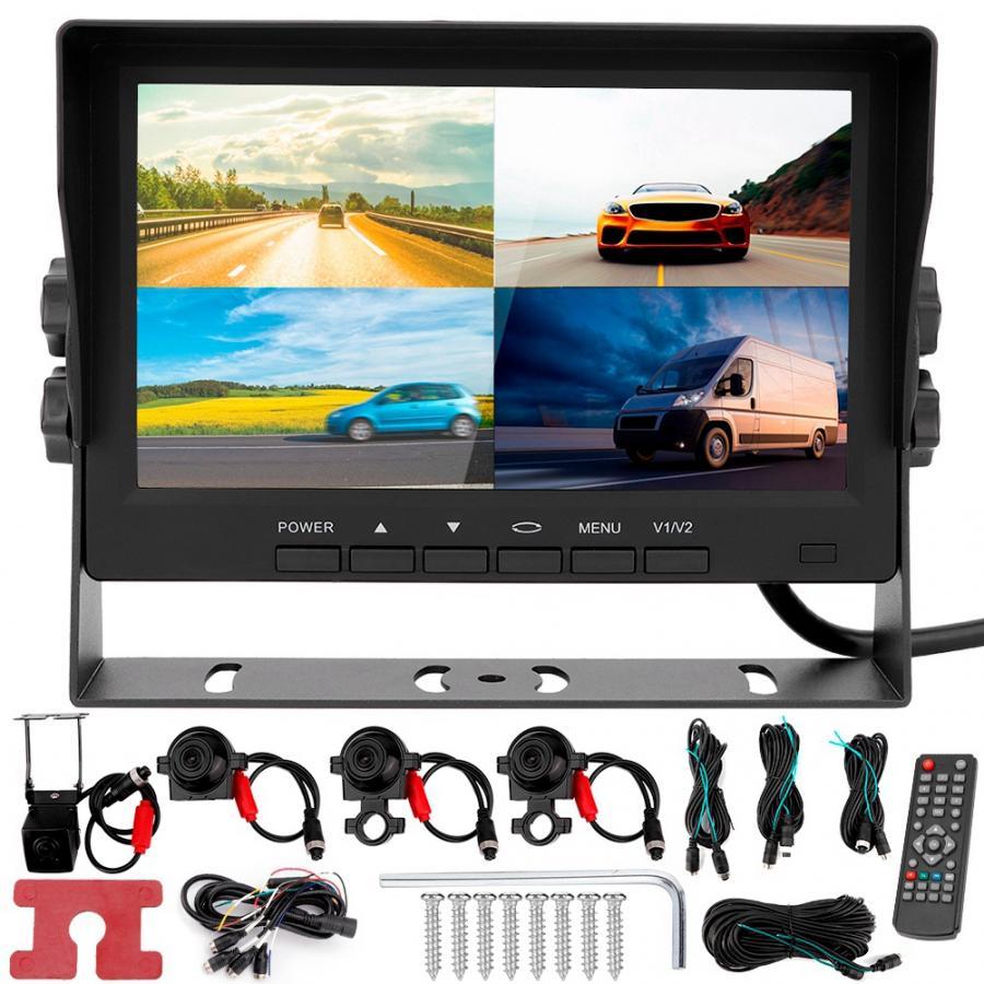 Oto aksesuar 7 pouces AHD 4 canaux affichage voiture camion enregistreur de conduite moniteur caméra de recul Vision nocturne araba aksesuar