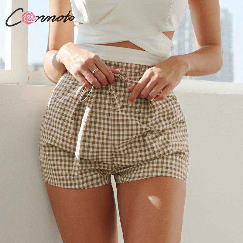 Conmoto Fashion Plaid Chic   Shorts   Women 2019 Summer Casual High Waist Lace up   Shorts   Female High Street Khaki Plus Size   Shorts