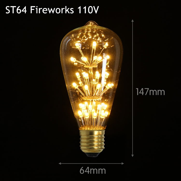 Antique Loft Style Edison Star ST64 LED Filament Bulb E27 220V Starry Light Retro Style For Rope Lights Chandelier Wall Lamp
