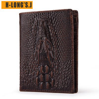 H Long'S.J Crazy horsehide Leather Wallets Men Genuine Leather Brand Card Holder Crocodile texture Wallet Portomonee Rfid Mini