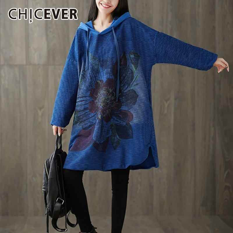 CHICEVER Autumn Winter Women's Print Dresses Hooded Batwing Sleeve Loose Oversize Hit Colors Dress Vintage Clothes New
