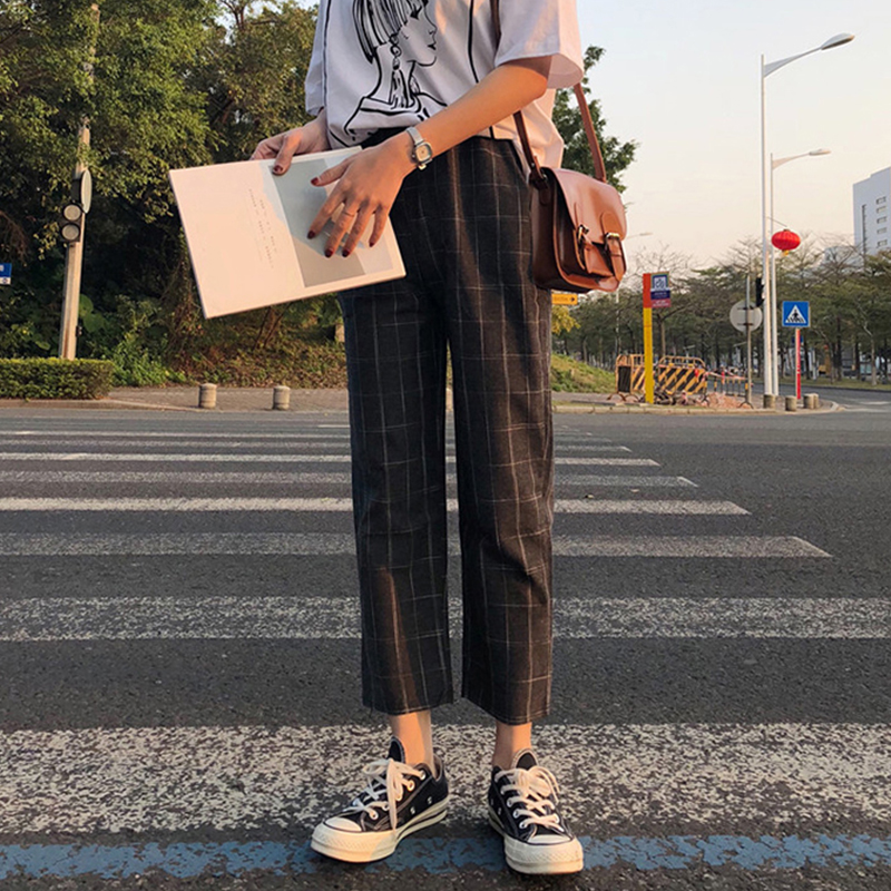 office lady style 2018 summer new fashion high pure color patchwork plaid print elastic waist drawstring long straight pants 1
