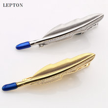 Новинка зажимы для галстука lepton с перьями мужчин золотистый
