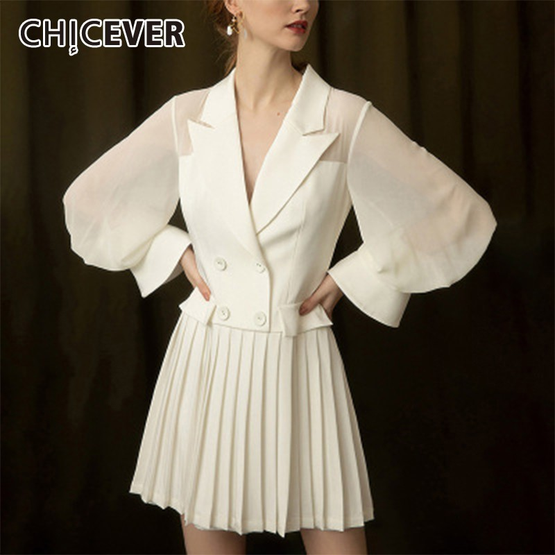 CHICEVER Summer Elegant Chiffon White Dress Notched Button Slim High Waist Pleated Hem Slim Knee Length