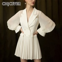 CHICEVER Summer Elegant Chiffon White Dress Notched Button Slim High Waist Pleated Hem Slim Knee Length Female Dresses 2019 Tide