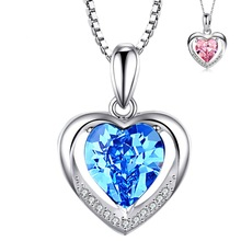 Blue Sapphire Crystal Pendant Necklace Silver S925 Heart - Shaped Ruby Bizuteria Gemstone Pendants for Women Wedding Giftd 2019 chic faux ruby heart bowknot necklace for women