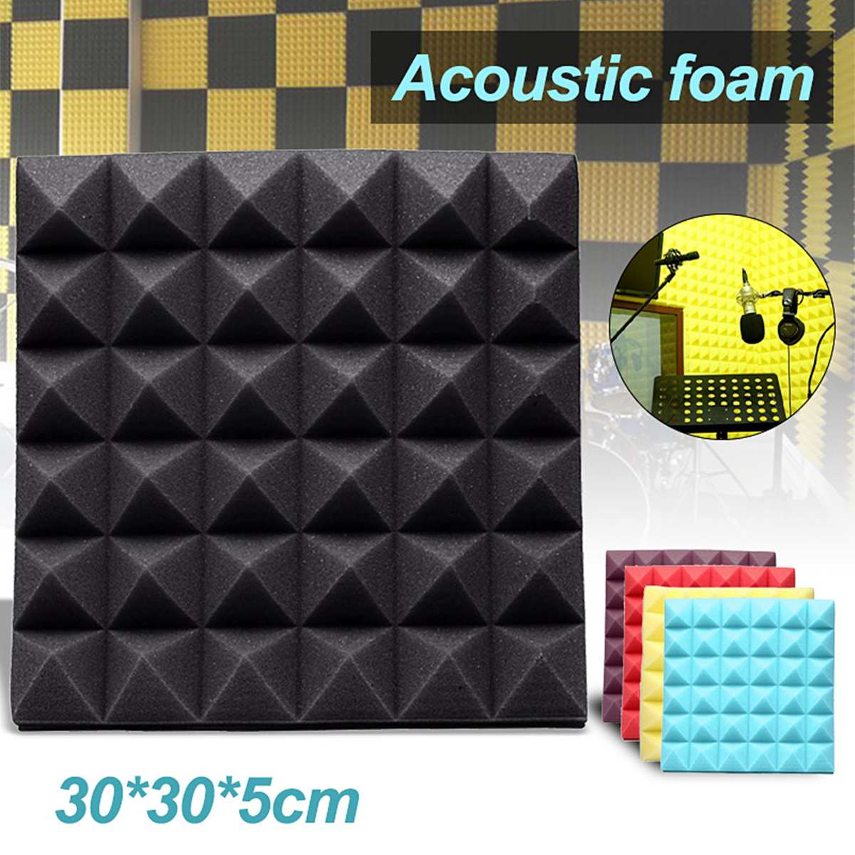 Newest 30*30*5cm Studio Acoustic Soundproof Foam Sound Absorption Treatment Panel Tile Wedge Protective Sponge