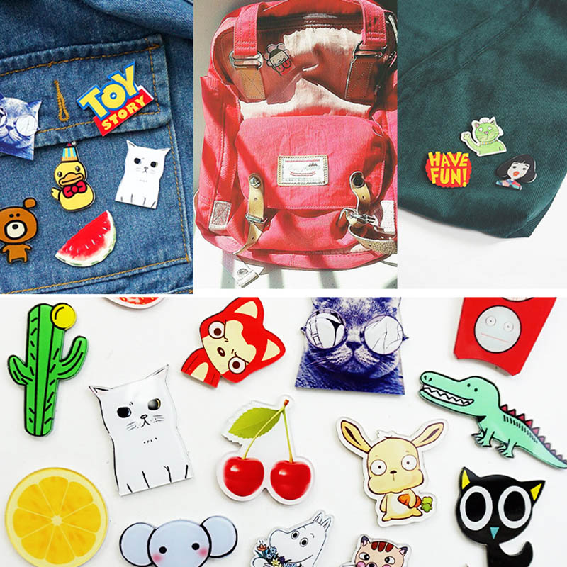 1PCs/Set Cartoon Cat Elephant Strawberry Brooch Acrylic Badges Icons On The Backpack Pin Badge Decoration Badges For Clothing