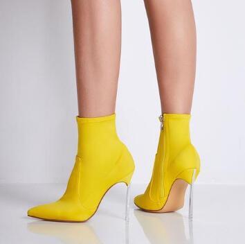 Frauen Stiefel Fersen Heels Größe Stiefeletten Design Dünne Schuhe Gold Zitrone Spitz Gelb Sexy Große Mode Einzigartige Bqzvx