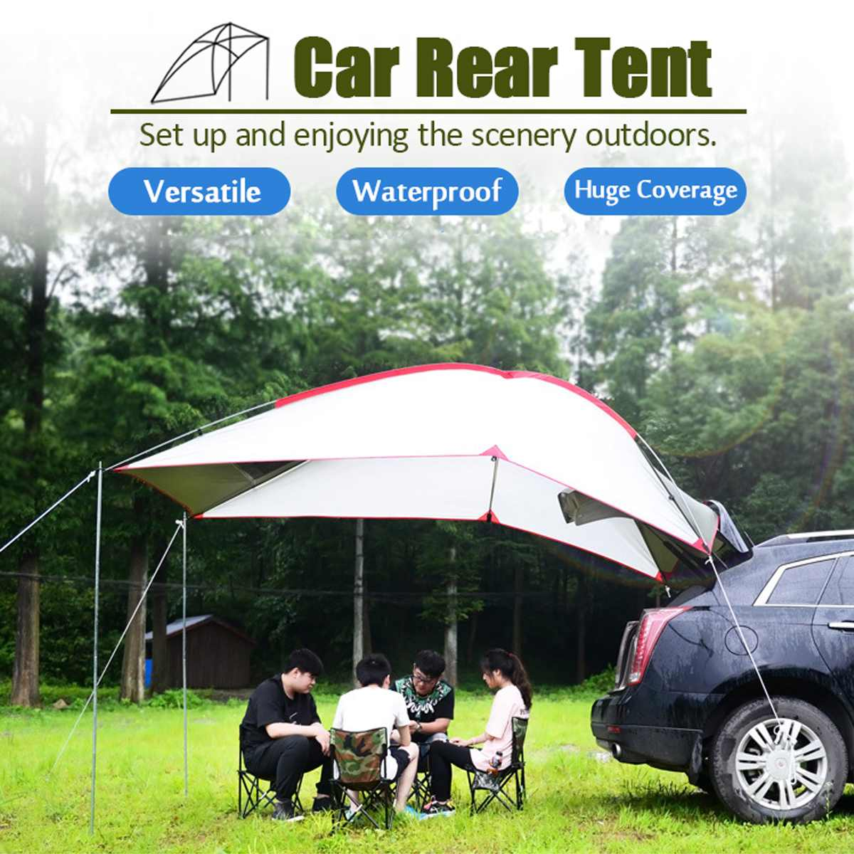 Waterproof Car Sunshade Portable Outdoor Camping Sun Shelter Tent with Screen Window Tailstock Weather Enclosure Sunshade PicnicWaterproof Car Sunshade Portable Outdoor Camping Sun Shelter Tent with Screen Window Tailstock Weather Enclosure Sunshade Picnic