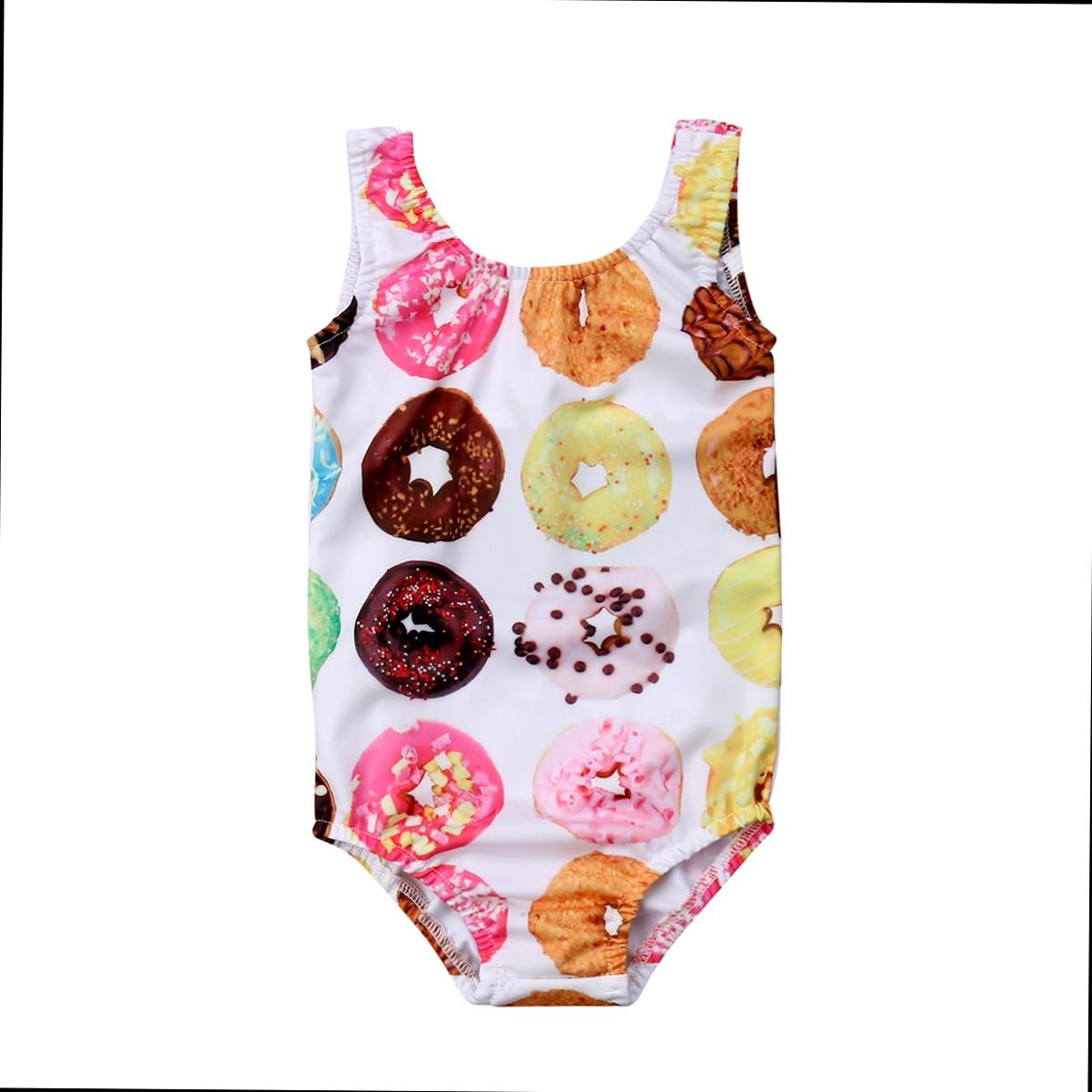 Kids Baby Girls Toddler Donut Print Cute Swimsuit Swimwear Bathing Suit Bikini One-piece Summer Tankini 1-6T Купальник