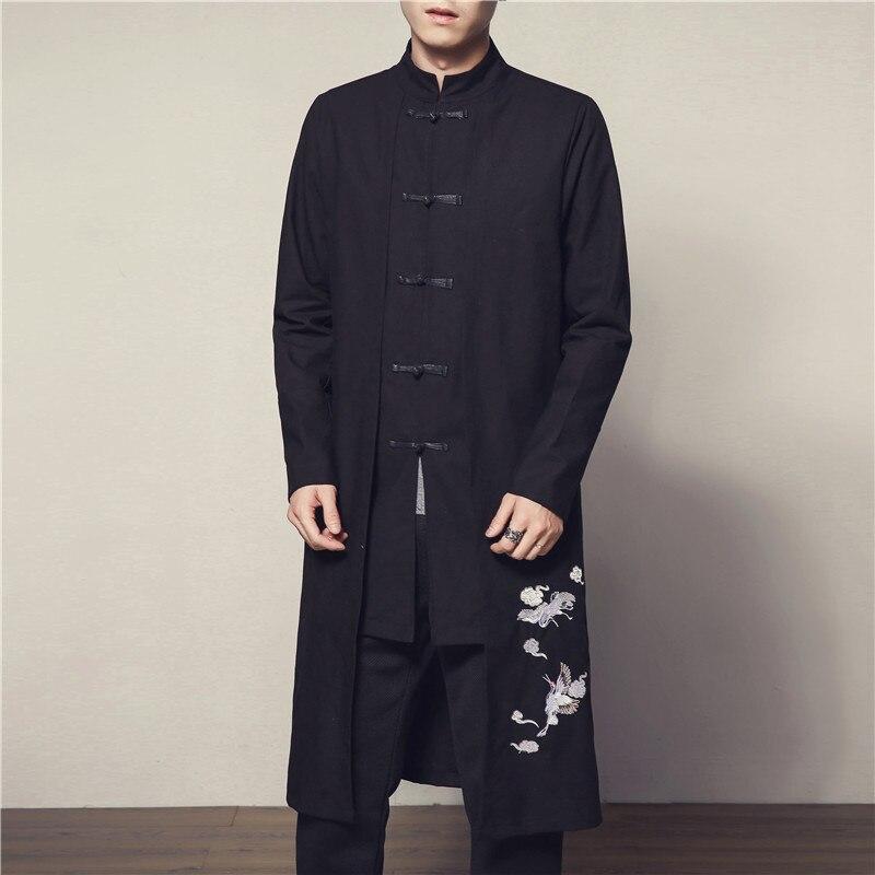 #4014 2019 Weiß Kran Stickerei Baumwolle Leinen Vintage Lange Graben Mantel Männer Chinesischen Stil Kleidung Windjacke Jacke Plus Größe