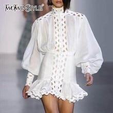 TWOTWINSTYLE Bodycon Dress Female Lantern Long Sleeve High Waist Hollow Out Ruffle Hem Shirt Dresses Women 2018 Autumn Fashion