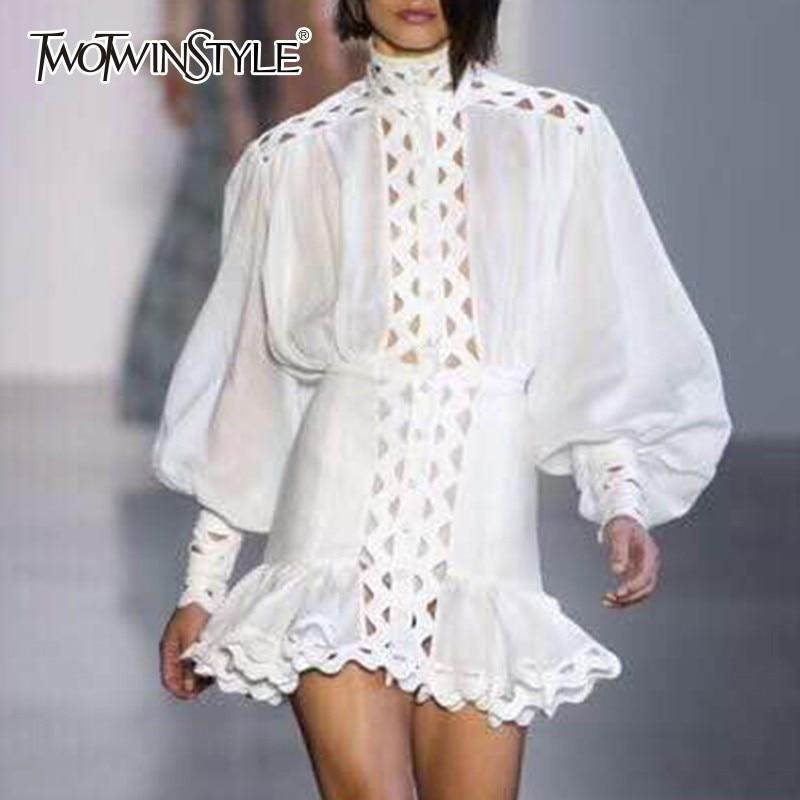TWOTWINSTYLE бодикон Платье женское фонарь длинный рукав высокая Талия выдалбливают оборками подол рубашки платья для женщин 2019 Осенняя мода