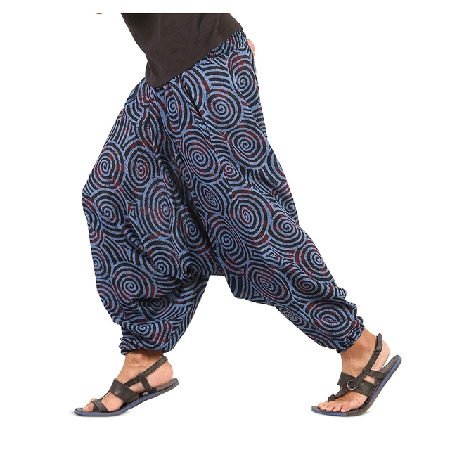 Mens Womens Boho Hippie Baggy Cotton Harem Pants With Pockets - Spiral Design