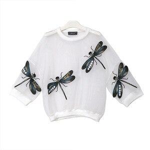 Image 2 - [EAM] 2020 nowa wiosna jesień okrągły dekolt z długim rękawem duży rozmiar Organza ściegu trójwymiarowa koszula kobiety bluzka moda JL958