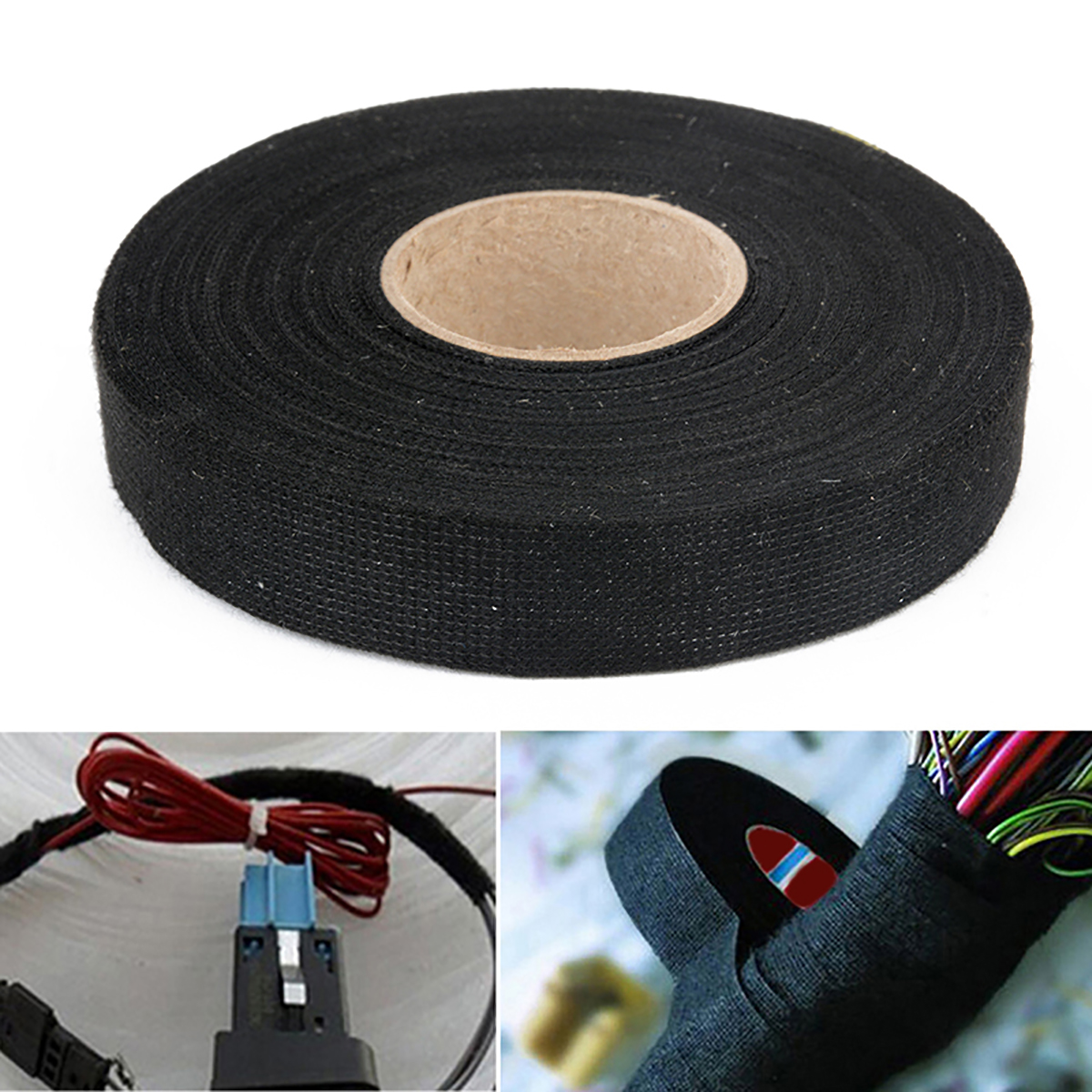 1pc Automotive Wiring Hardness Heat-resistant Adhesive Cloth Fabric Tape Auto Car  Looms Protection 19mm X 25m