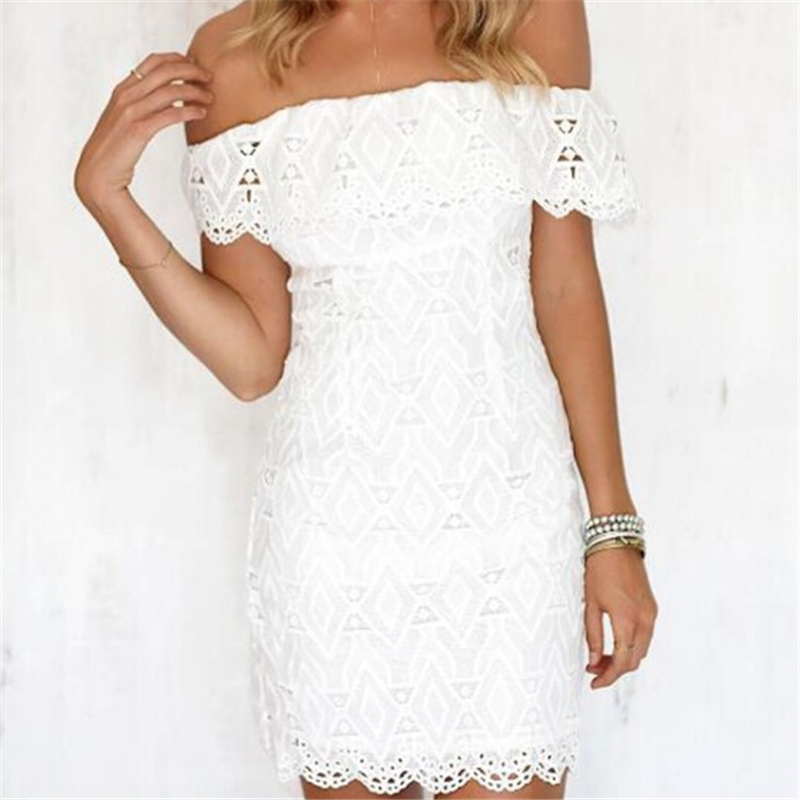 Buy Summer Women Lace Dress Evening Party Mini Dresses White Off Shoulder Solid Color Ladies Party Dresses Sundress Sexy Women Dress for only 13.49 USD