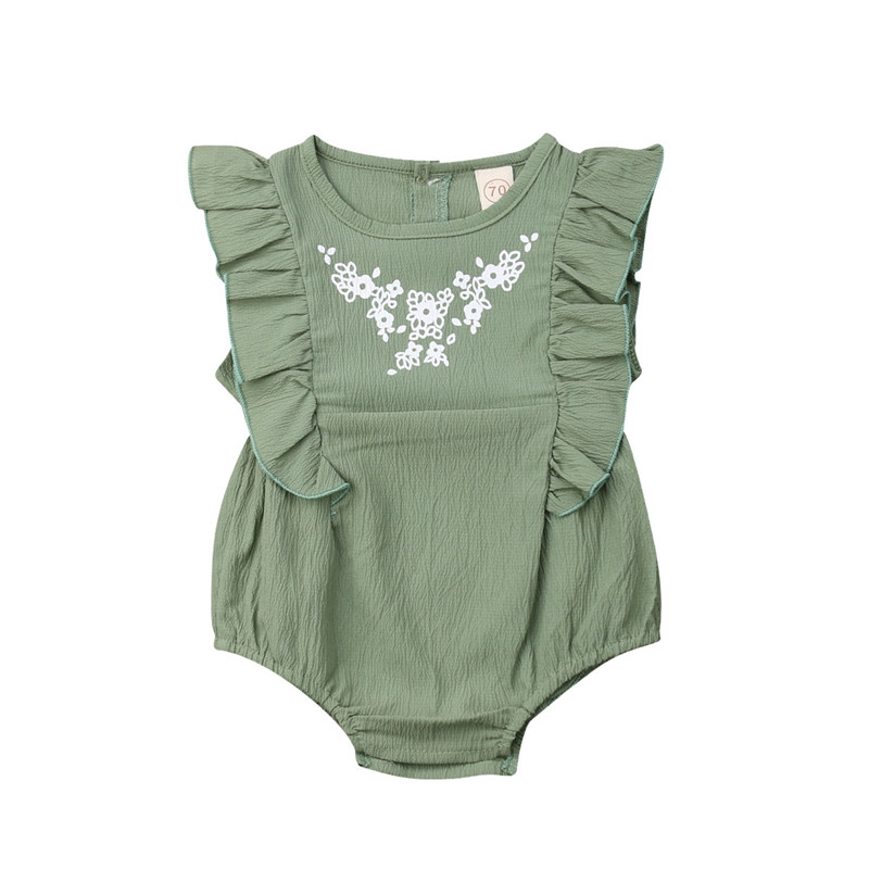 ea23b3446fa 2019 New Lovely Summer Newborn Baby Girls Sleeveless Green Rompers Infant  Girl Causal Floral Fly Sleeve