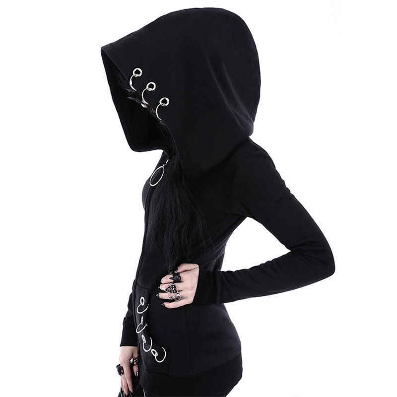 Женское пальто в стиле панк, черные однотонные Топы с капюшоном, Свитшот-худи, куртка