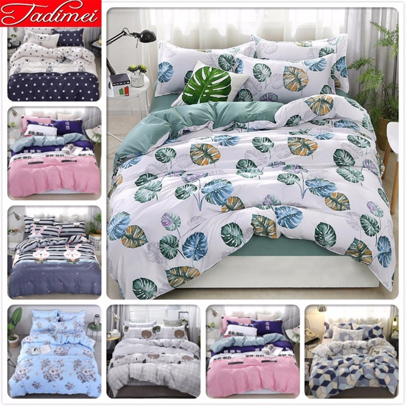 Green Leaves Pattern Duvet Cover 3/4 Pcs Bedding Set Adult Kids Cotton Bed Linen Coverlet Single Full Queen King Size Bedspreads