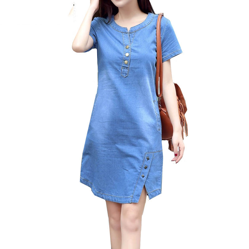 2019 Women Korean Plus Size Denim <font><b>Dress</b></font> Summer Casual <font><b>Jeans</b></font> <font><b>Dress</b></font> with Button Pocket <font><b>Sexy</b></font> Denim Mini <font><b>Dress</b></font> image