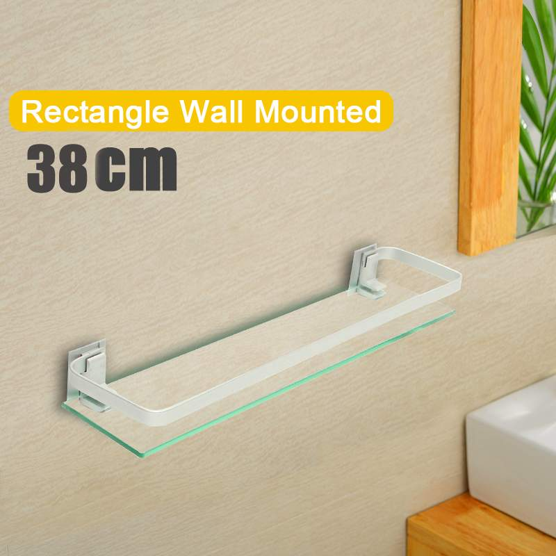 35cm Glass Bathroom Shelf Rectangle Wall Mounted Sundries Stand35cm Glass Bathroom Shelf Rectangle Wall Mounted Sundries Stand