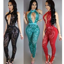 Sexy bodysuit backless mesh sequin jumpsuit macacao feminino for women 2018 patchwork party rompers womens body mujer