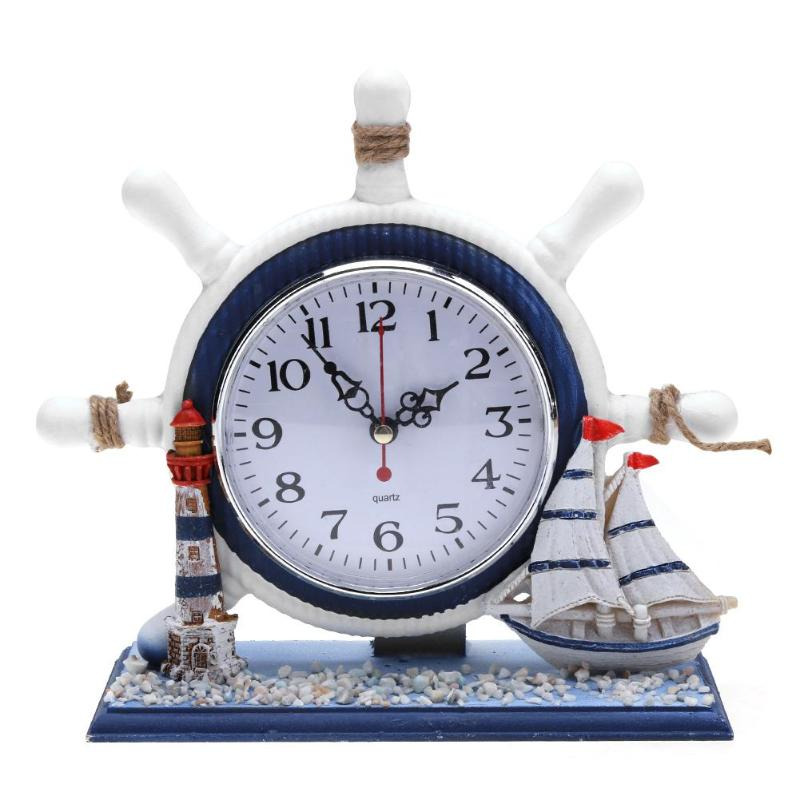 Mediterrane Wind Bureauklok Elektronische Houten Tafel Klok Opknoping Horloge Home Achtergrond Decoratie Best Selling 2019 Producten Wees Onthouden In Geldzaken