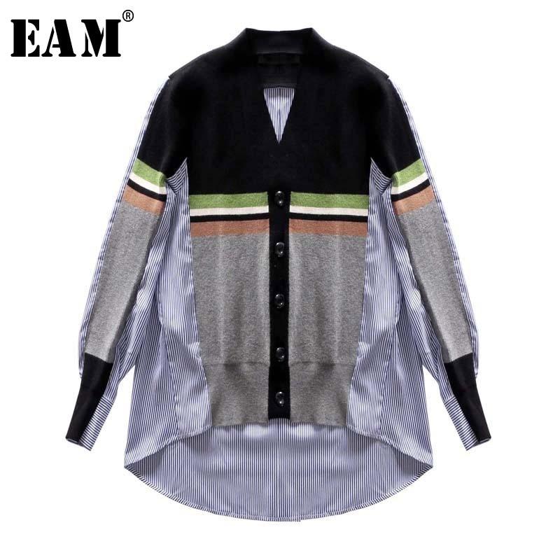 [EAM]2020 New Spring Winter V-collar Long Sleeve Black Spit Joint Striped Irregular Hem Knitting Open Stitch Women Fashion JL658