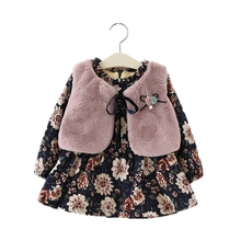 2018 Winter Floral Flannel Baby Girl Dress With Faux Fur Vest Long Sleeve O-neck Collar Kids Clothes Baby Party Princess Dresses