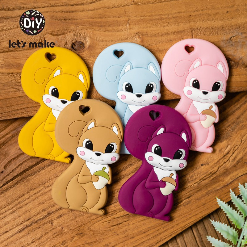 Let's Make Silicone Teethers Animals Squirrel Cartoon Shape Food Grade Silicone Tiny Rod BPA Free Baby Teethers 1pc Patent Owner