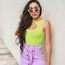 Summer Bodysuits 2019 New Sexy Women Irregular Slant Shoulder Sleeveless Solid Slim