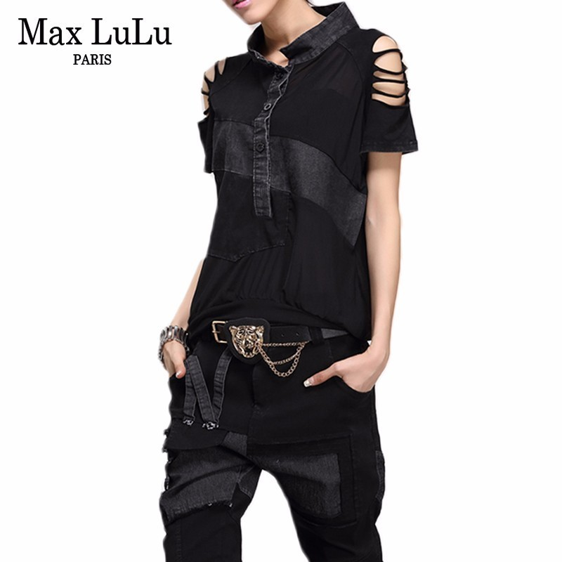 Max LuLu 2019 Fashion Korean Style Ladies Summer Crop Tops And Pants Women Denim Two Pieces Set Sexy Black Clothes Party Outfits-in Women's Sets from Women's Clothing    1