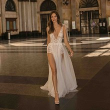 2019High Side Split Wedding Dress Sexy Sheer V Neck Backless Lace Bridal Gowns  Vestido De Novia Bride