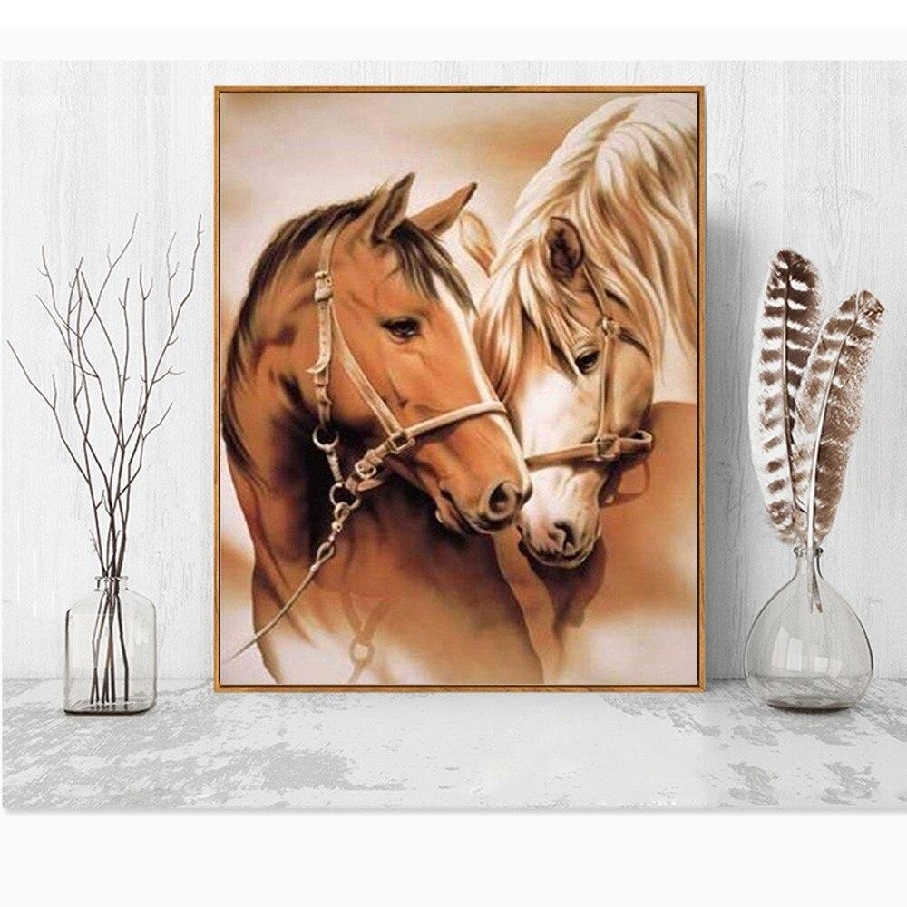 HUACAN Diamond Painting Horse DIY Diamond Embroidery Animal Full Kits Handmade Gift Needlework Rhinestone Mosaic Picture in Diamond Painting Cross Stitch from Home Garden