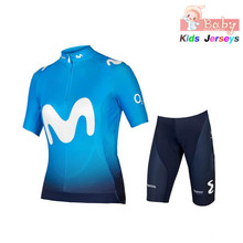 2019 Movistar Pro Team дети с короткими рукавами Джерси для велоспорта Ciclismo велосипедный Костюм MTB велосипедный Джерси форма велосипедная одежда