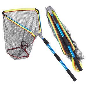 Image 1 - 200mm Blue Folding Fishing Landing Net Fish Net Cast Carp Rubber Coated Net Network With Extending Telescoping Pole Handle