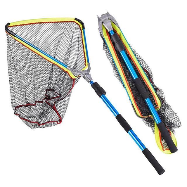 200mm Blue Folding Fishing Landing Net Fish Net Cast Carp Rubber Coated Net Network With Extending Telescoping Pole Handle