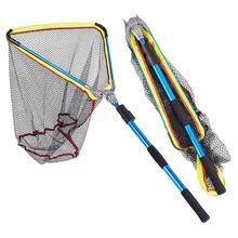 Red de pesca plegable azul de 200mm red de pesca revestida de goma con mango telescópico extensible