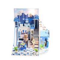 CREATE DIY kit Hut toy Innocence Small Manual Assembling Model Villa Originality Children for Sky Blue Clear