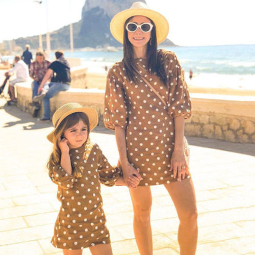 Mother And Daughter Family Matching Dots Dresses Women Girl Short Dress Family Clothes