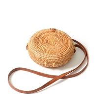 INS new ladies hand-woven bag round rattan retro literary leather buckle package Bohemia Beach Messenger