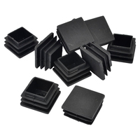 Mobilya'ten Mobilya Ayakları'de Promosyon! 20mm x 20mm Sert Plastik Boru Düz Uç Takılı Tüp Masa AYAĞı kör tapa 10 parça Siyah