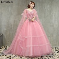 Cheap Pink Quinceanera Dresses Ball Gown V Neck Puffy Sweet 16 Debutante Dresses for 15 Years Lace Long Prom Dress Plus Size
