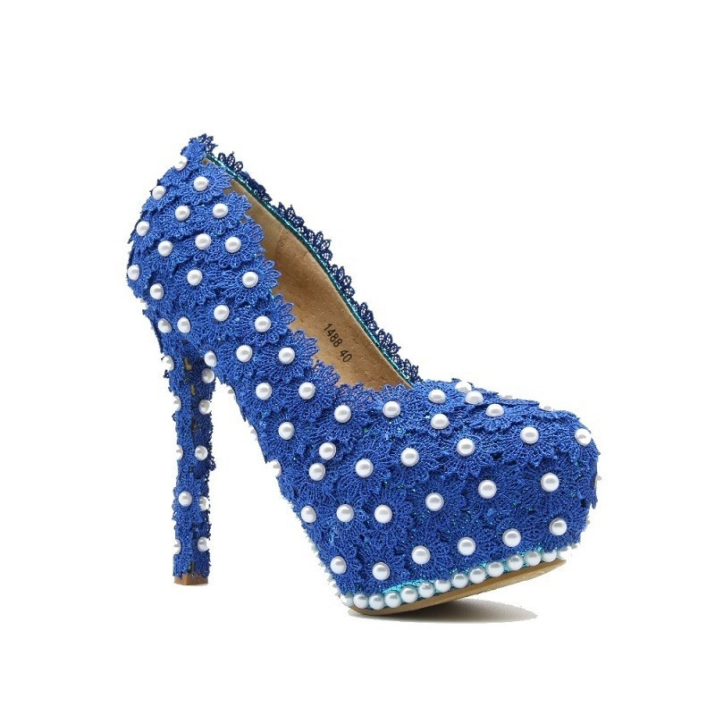 Luxury Handmade Blue Lace Pearls Platform High Heels