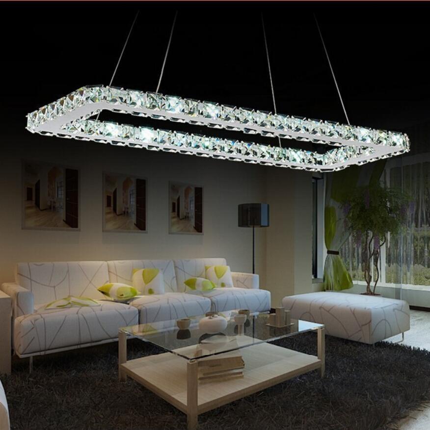 Luxurious Silver Square Crystal Led Chandelier K9 Crystal Led Lamp / Led Lustre Light/ Fixture Modern Led Chandeliers Lighting